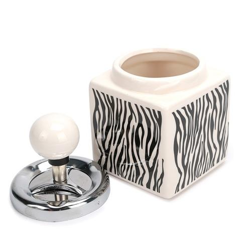 cinzeiro para cigarro de cerâmica quadrado - zebra