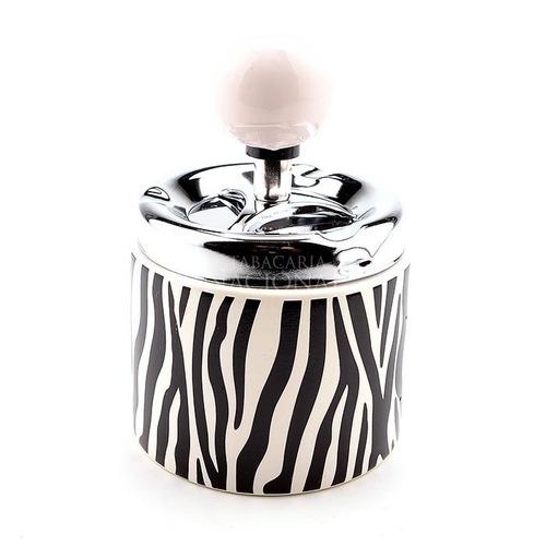 cinzeiro para cigarro de cerâmica redondo - zebra