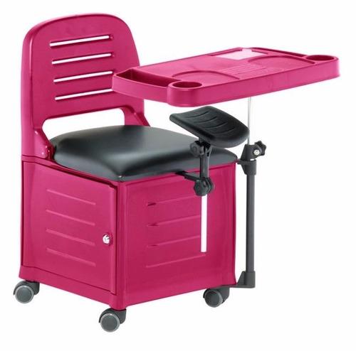 cirandinha cadeira manicure rosa pink c/ gaveta, apoio de pé