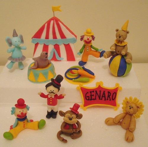 circo - adorno para torta + 20 pinchos