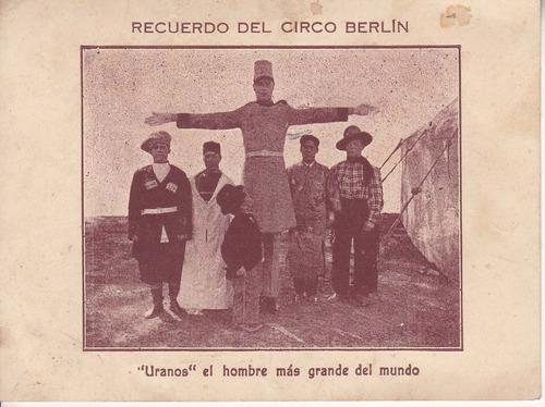 circo berlin antigua tarjeta recuerdo gigante uranos