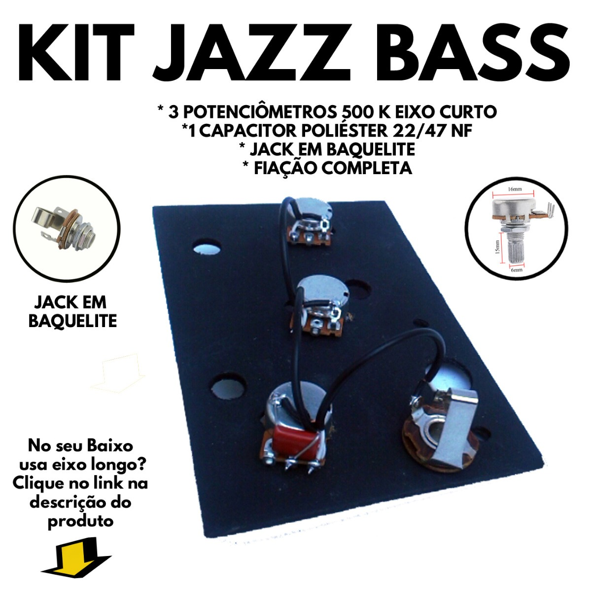 Circuito Jazz Bass : Circuito elétrico jazz bass passivo potenciômetro k r