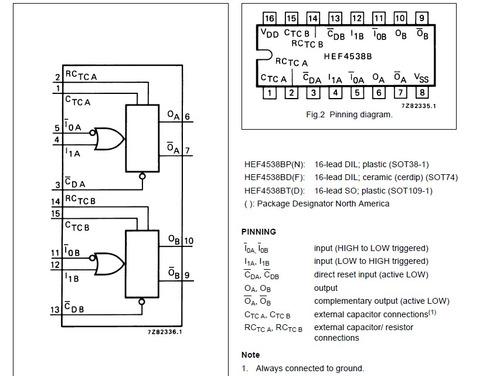 circuito integrado cd4538bp hef4538bp