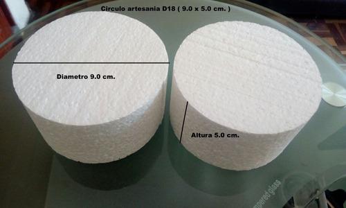circulos de tecnopor d18 ( 9.0 x 5.0 cm. ) x 12 unidades