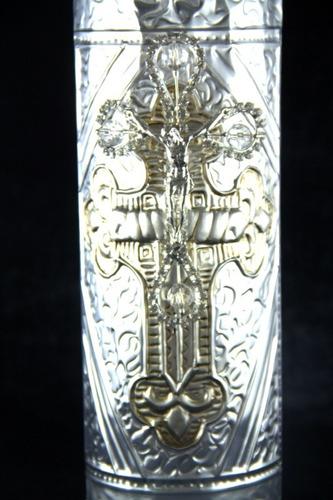 cirio boda repujado cruz delgada swarovski med