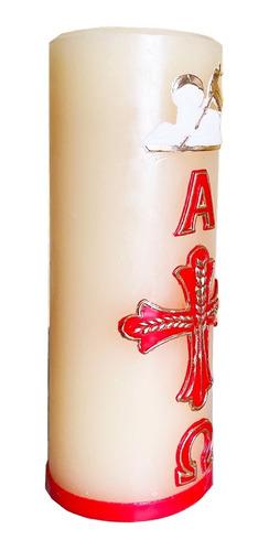 cirio pascual, vela de oración, veladora alfa y omega,22x7.5