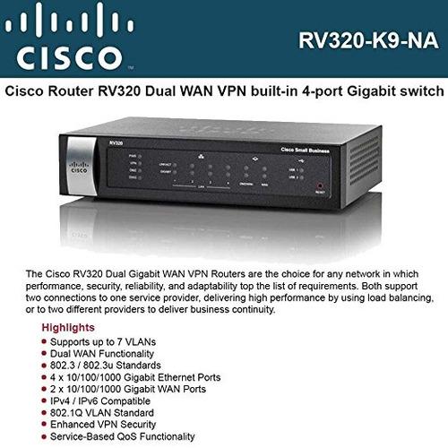 cisco rv320 rv320-k9-na pequeña empresa - conmutador de 4 pu