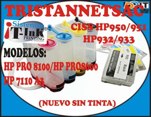 ciss hp950/951/hp932/933 pro8100/pro8600/hp7110 a3