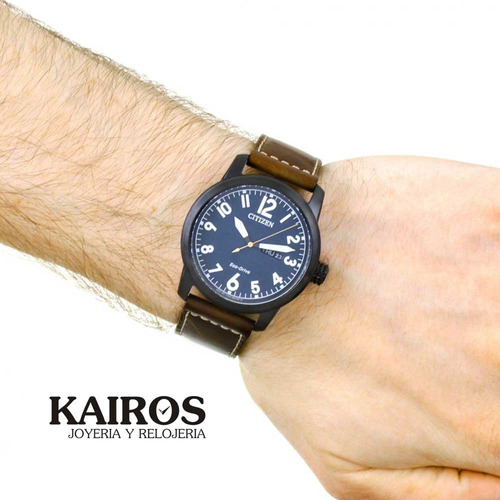 citizen bm8478-01l acero pavonado piel ecodrive --kairos--
