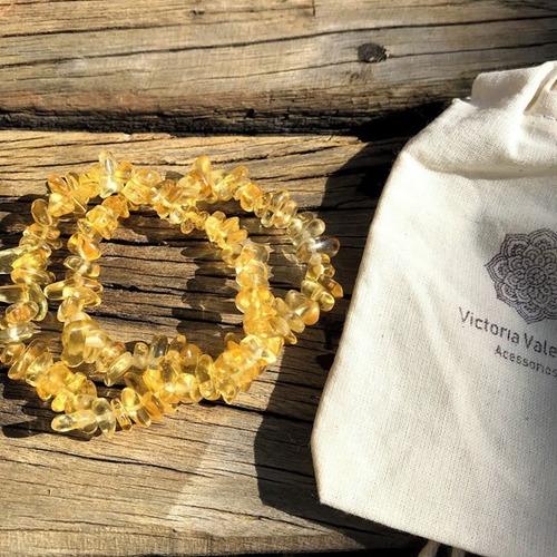 citrino - 2 pulseiras de cascalho murano