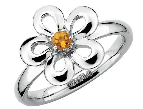 citrino anillo de la flor 1/10 quilates (ctw) en plata de le