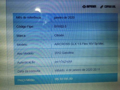citroen aircross 2012 1.6 16v glx com gnv