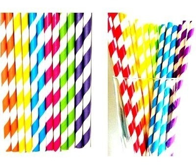cj 25 canudos papel vintage colorido canudinho festa bebida