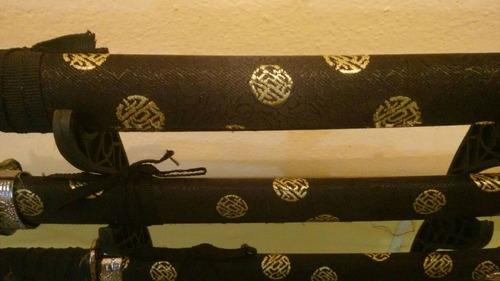 cj 3 espada samurai katana ninja decorativa c/ suporte