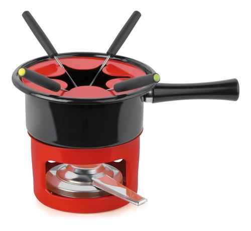 cj fondue panela 8 pcs completo viena com fogareiro vermelho