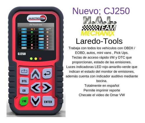 cj250 escaner de diagnostico con semaforo injectronic crp cj