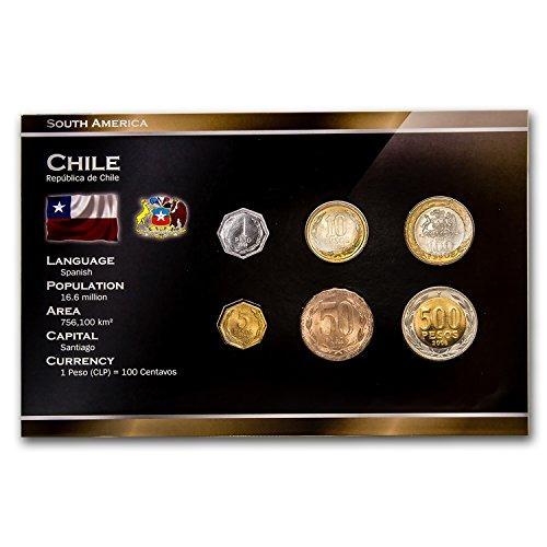 cl 2000 chile  pesos juego de 6 monedas brillante uncircula