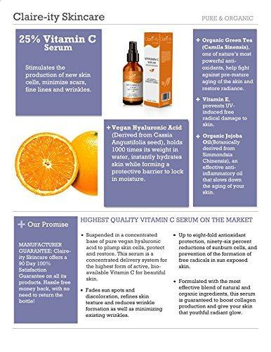 claireity 25% suero vitamina c con ácido hialurónico y vitam