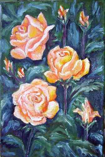 clara luz castillo parodi rosas del natural oleo sobre tela