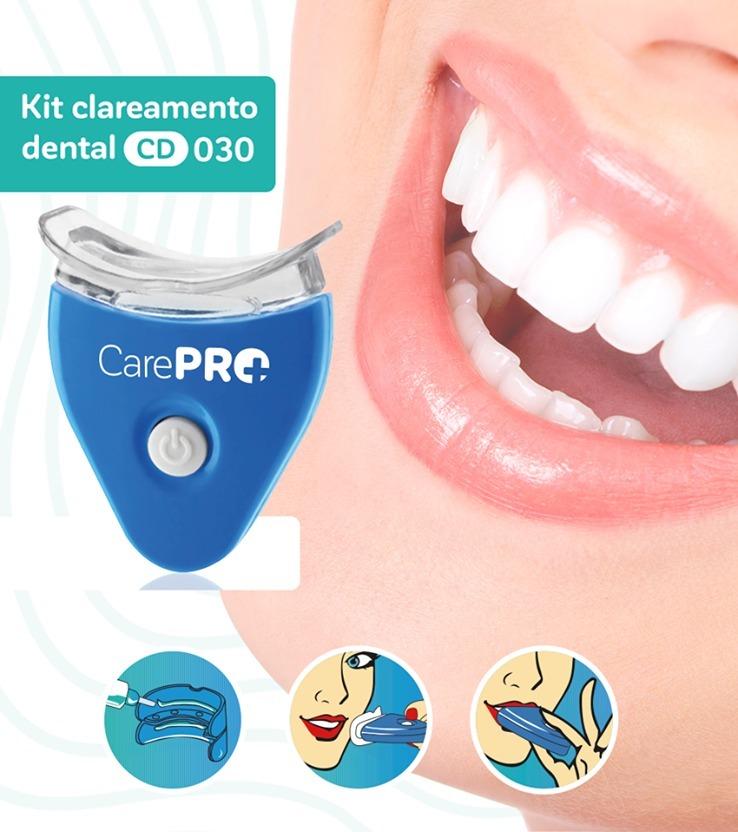 Clareador Dental 2 Gel Care Pro Kit Clareamento Baterias R 39