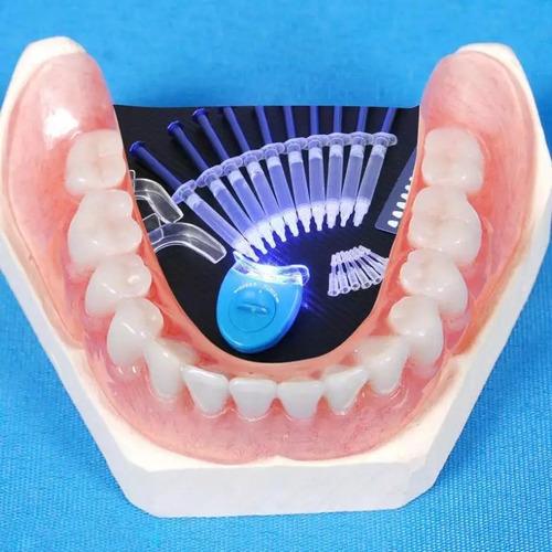 clareamento dental kit completo 44% + molde+10 seringas+led