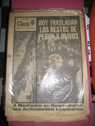 clarin  del 4 de julio de 1974 trasladan los restos de peron