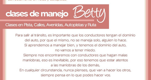 clase manejo betty particular a domicilio -con o sin licenci