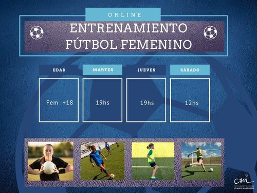clase online de futbol femenino. entrenamiento online futfem
