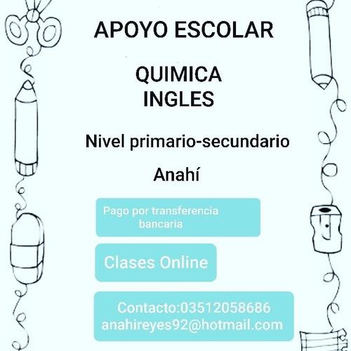 clases de apoyo. inglés, química (primario-secundario)