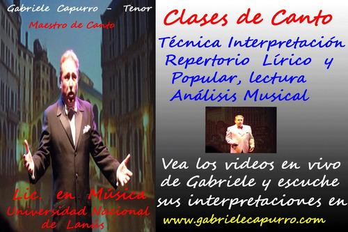 clases de canto lírico ópera online repertorio