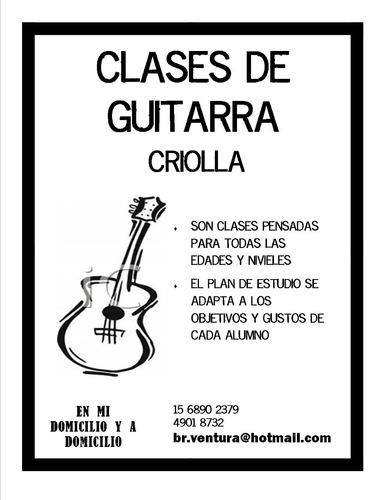 clases de guitarra criolla a domicilio y en almagro.