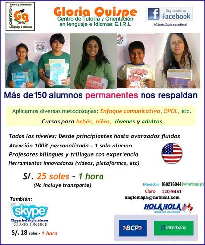 clases de inglés: centro de idiomas - domicilio y skype