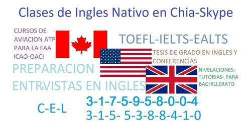 clases de ingles en chia nativo via skype