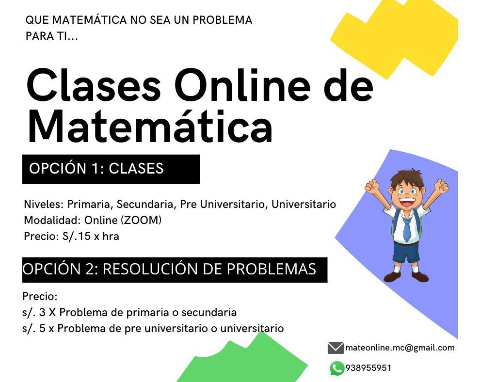 Clases De Matemática Online Primaria Secundaria Pre Uni S 15 En Mercado Libre