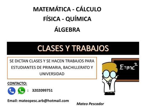 clases de matemática, química y física