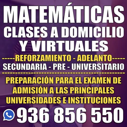 clases de matemáticas a domicilio y virtuales