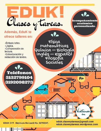 clases de matemáticas, física, química, inglés y español