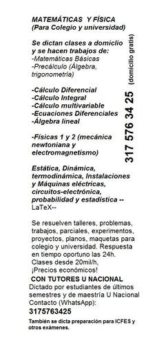 clases de matematicas y fisica bogota con tutores u nacional