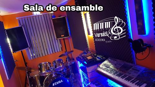 clases de piano, guitarra, canto, batería, bajo, violín
