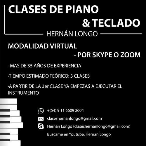 clases de piano & teclado por zoom o skype