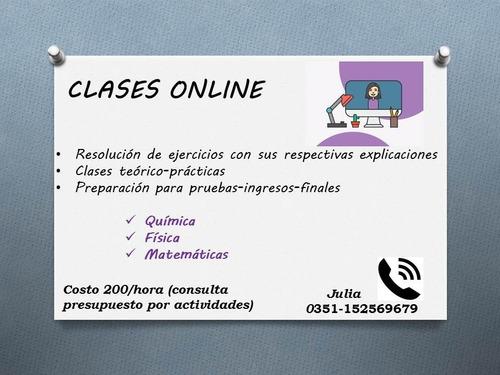 clases de química,física y matemáticas online y presencial
