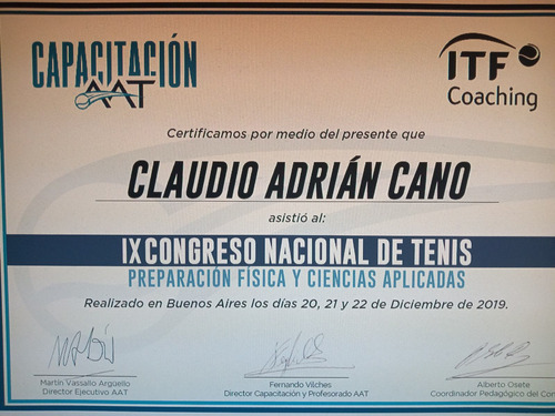 clases de tenis - profesor cerificado (a.a.t)