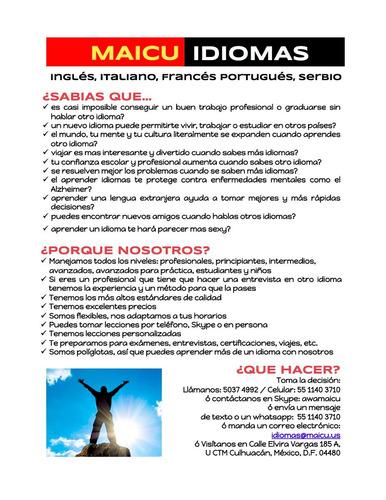 clases inglés, francés, portugués, italiano, serbio x skype