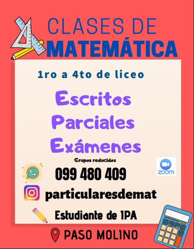 clases particulares de matemática de 1ºa4º de secundaria