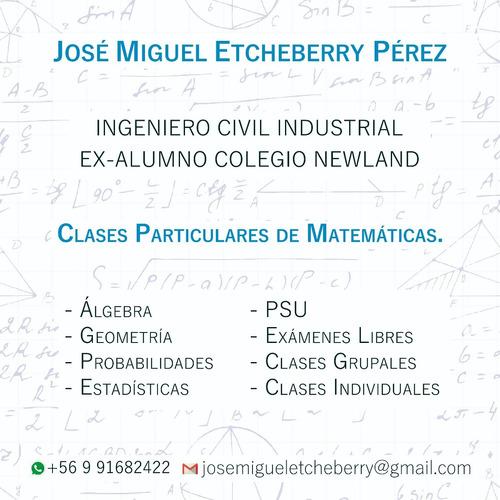 clases particulares matemáticas básica, media y psu 2019
