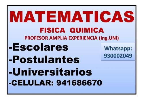 clases particulares matemáticas(uni) pre-u,escolar,universit