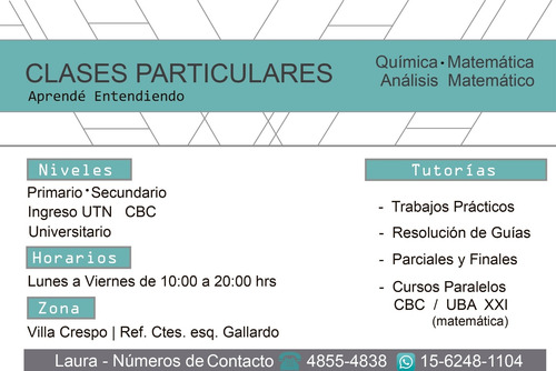 clases particulares online, matemática, química, cbc-ing utn