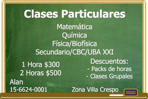 clases particulares química biofísica matemática cbc uba xxi