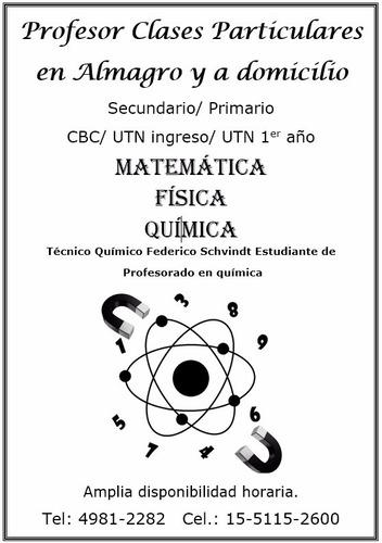 clases particulares quimica, fisica y matematica a domicilio