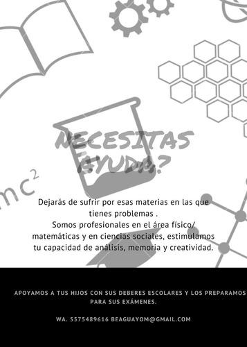 clases virtuales biología, física y química, club de tareas.